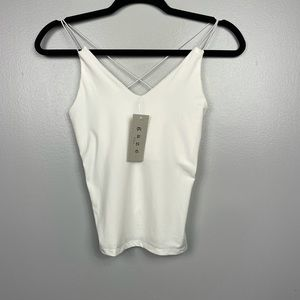 Crop cami Top solid color white size S.